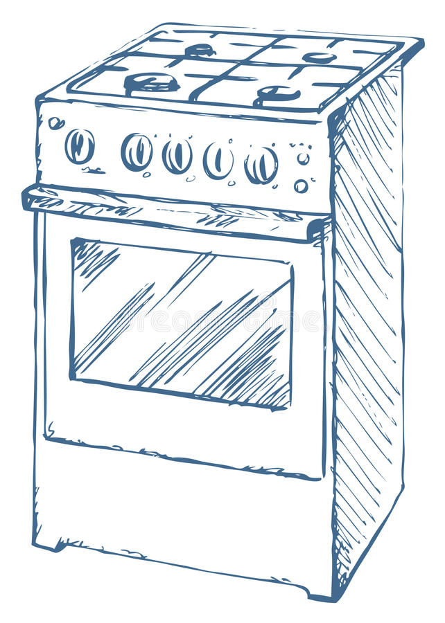 Stove. Vector drawing. Free standing hotplate with four hob plate and buttons isolated on white. Vector linear freehand ink drawn background sketchy in art royalty free illustration
