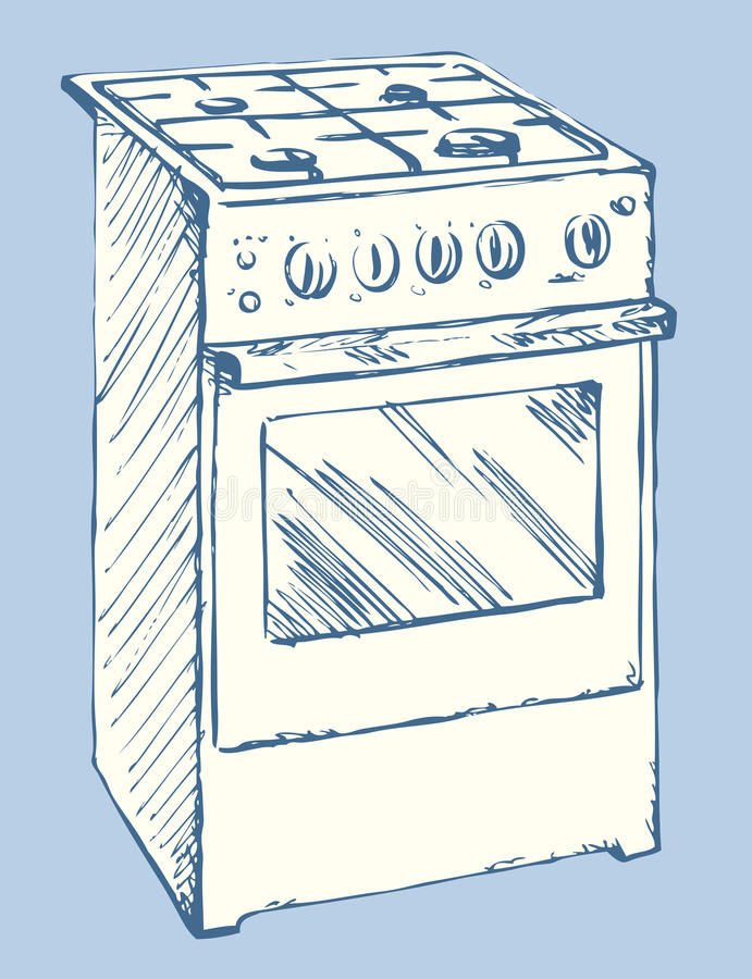Stove. Vector drawing. Free standing hotplate with four hob plate and buttons on white. Vector linear freehand ink drawn background sketchy in art scrawl style royalty free illustration