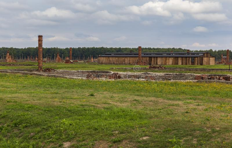 Stoves and barracks in the Auschwitz-Birkenau concentration camp. POLAND - AUGUST 2019: Stoves and barracks in the Auschwitz-Birkenau concentration camp stock photography