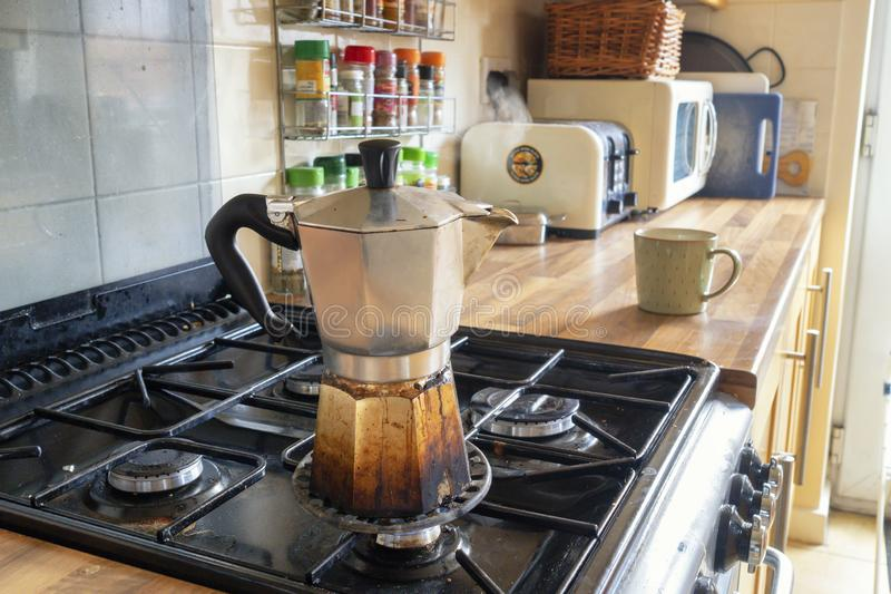 Stovetop Expresso coffee stock photography