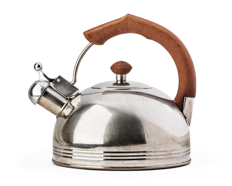 Stovetop whistling kettle isolated on white background. Stovetop whistling kettle isolated on white background with clipping path stock images