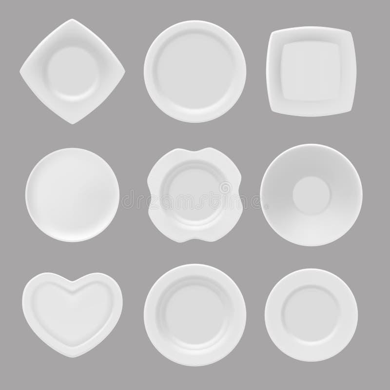 Stoviglie di vettore Immagini realistiche di vari piatti illustrazione di stock