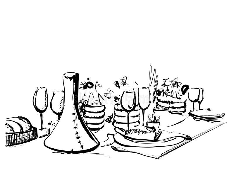 Stoviglie disegnate a mano della cena romantico Schizzo della bevanda e dell'alimento immagine stock