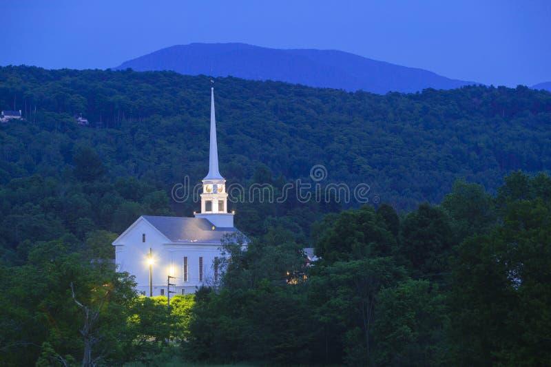 Stowe黄昏的社区教会 库存图片