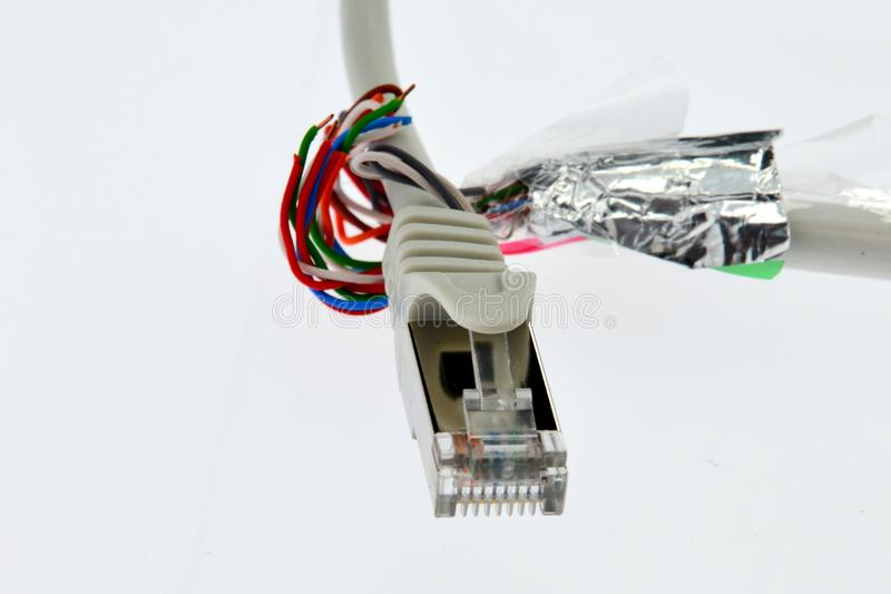 STP LAN CAT5e Cable Wires Shaped Like A Hand Are Holding A Cable ...