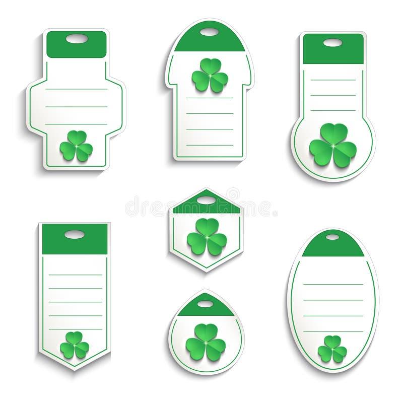 StPatrick ` s dnia shamrock etykietki papieru 3D bielu zieleń royalty ilustracja