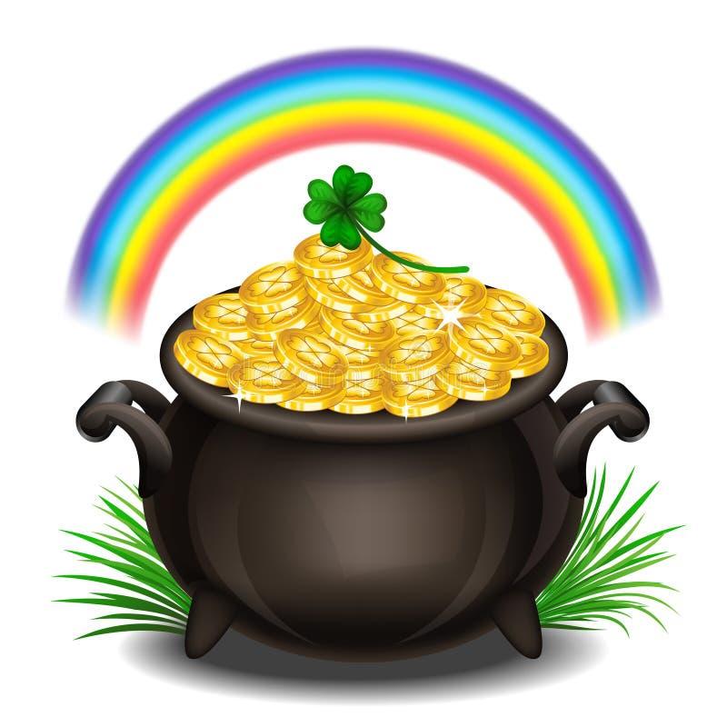 StPatrick ` s dnia tło z garnkiem złoto, Magiczny skarb ilustracja wektor