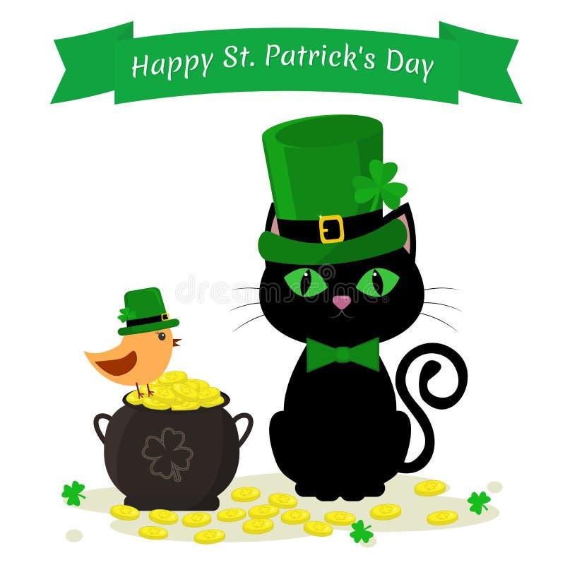 StPatricks Dag Zwarte kat in een groene hoed van een kabouter, een ketel met gouden muntstukken en een vogel in een groene hoed,  royalty-vrije illustratie