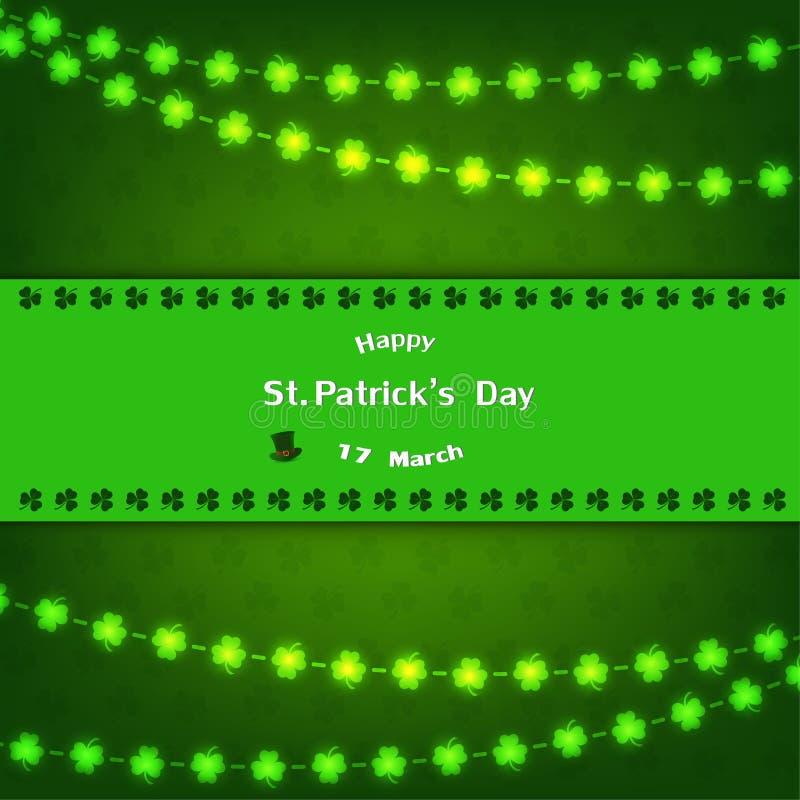 StPatricks Tageshintergrundentwurf mit Shamrock für glücklichen Frühling lizenzfreie abbildung
