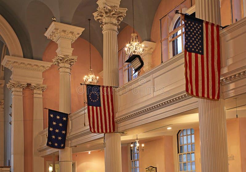 StPaul kapell inom, New York, USA arkivbild