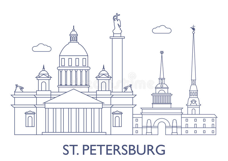 StPetersburg, as construções as mais famosas da cidade ilustração stock