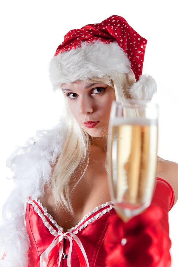 sträckning för mrs santa för champagne glass royaltyfria foton