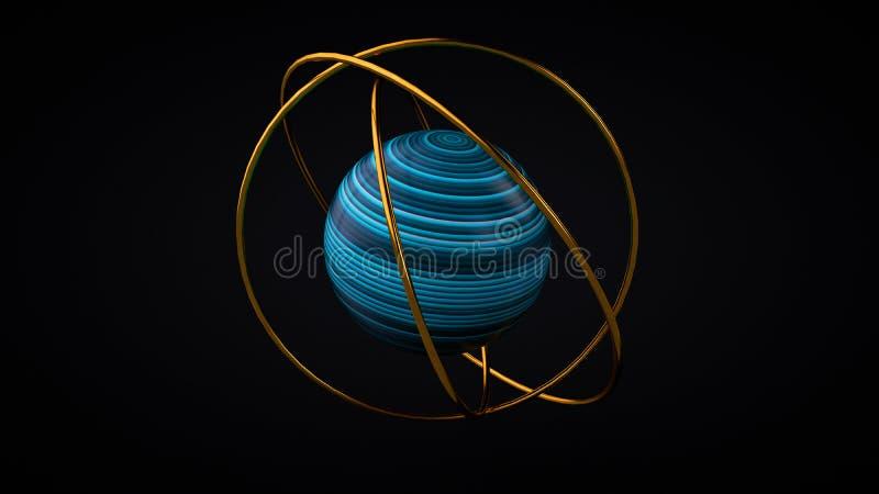 Sträckt textursfär med guld- cirklar, tolkning 3D stock illustrationer