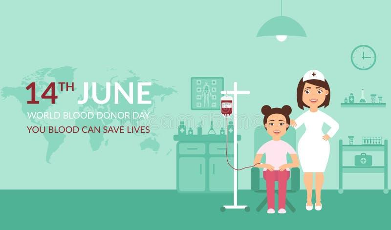 Sträflinge und Arme Medizinische Fahne Ihr Blut kann die Leben retten Weltblutspend-Tag Eine Krankenschwester oder ein Doktor an  lizenzfreie abbildung