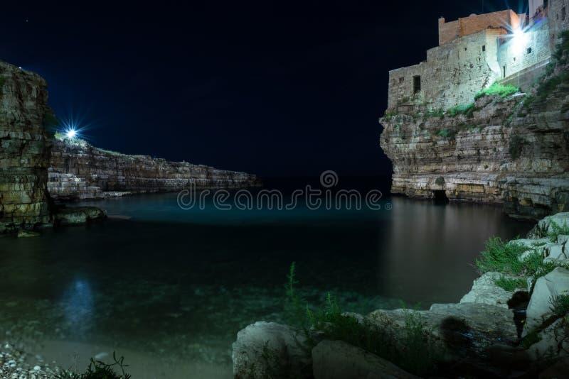 STRÄNDE des Strandes Polignano eine Stute - Apulien - Italien lizenzfreie stockfotos