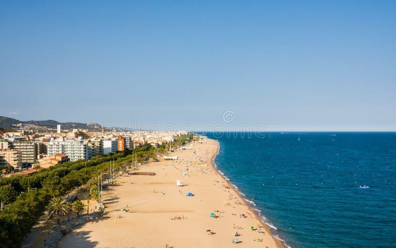 Stränder kust i Calella catalonia spain royaltyfri bild