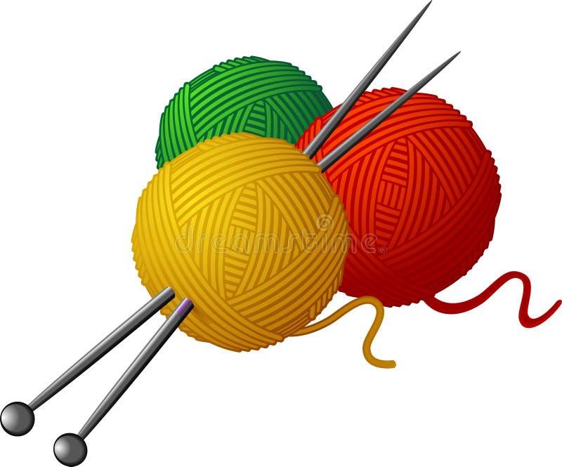 Stränge der Wollen und der strickenden Nadeln lizenzfreie abbildung