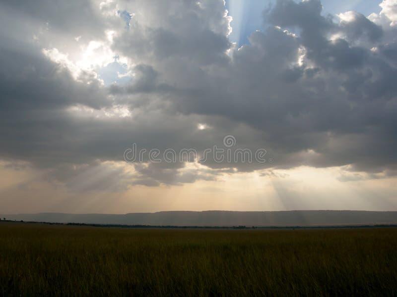 Strålar av ljus som strömmar till och med mörka moln över afrikanska slättar arkivbilder