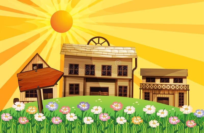 Strålar av solen och husen i grannskapen
