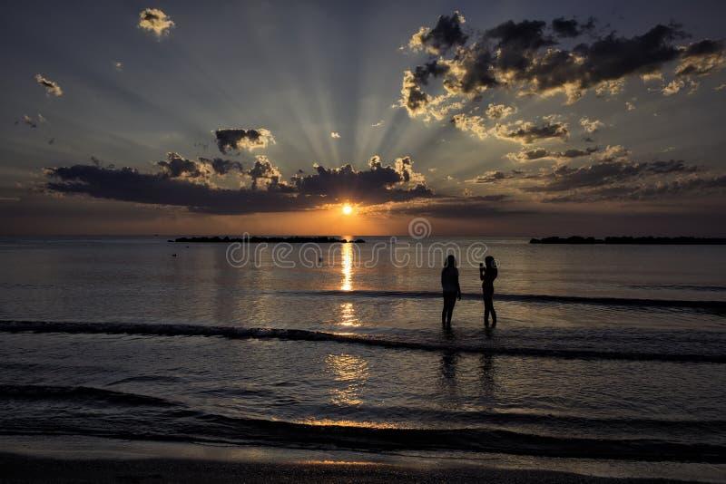 Strålar av solen på gryning royaltyfri foto
