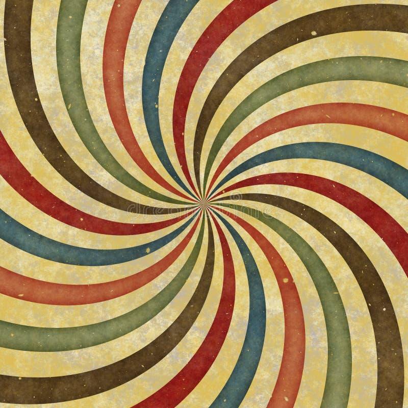strålar för Retro Swirl för 60-tal70-tal skraj Wild spirala royaltyfri illustrationer