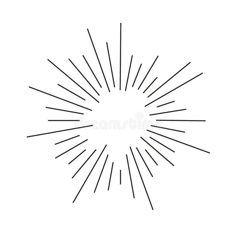 Strålar för Sunburst för explosion för tappning svarta Handdrawn för design fyrverkerier för beståndsdel royaltyfri illustrationer