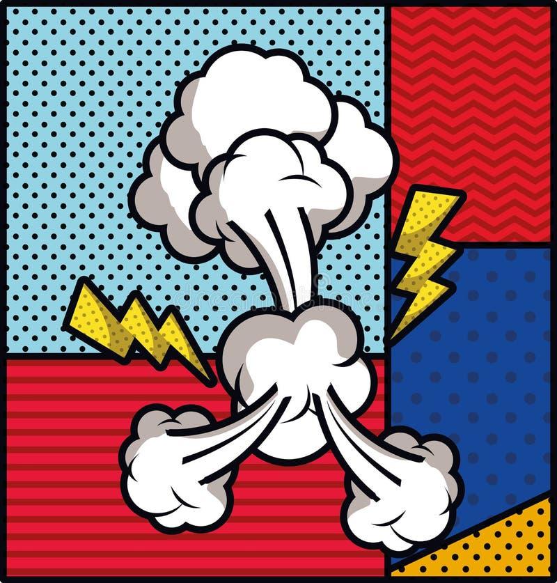 Strålar och illustration för vektor för stil för rökpopkonst royaltyfri illustrationer
