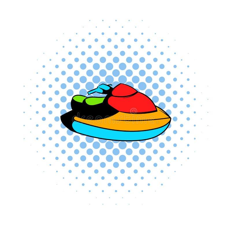 Strålen skidar vattensparkcykelsymbolen, komiker utformar vektor illustrationer