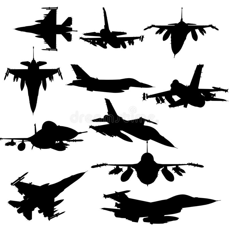 StrålF--16isolat på vit bakgrund amerikansk militär kämpenivå Ställ in samlingar vektor illustrationer