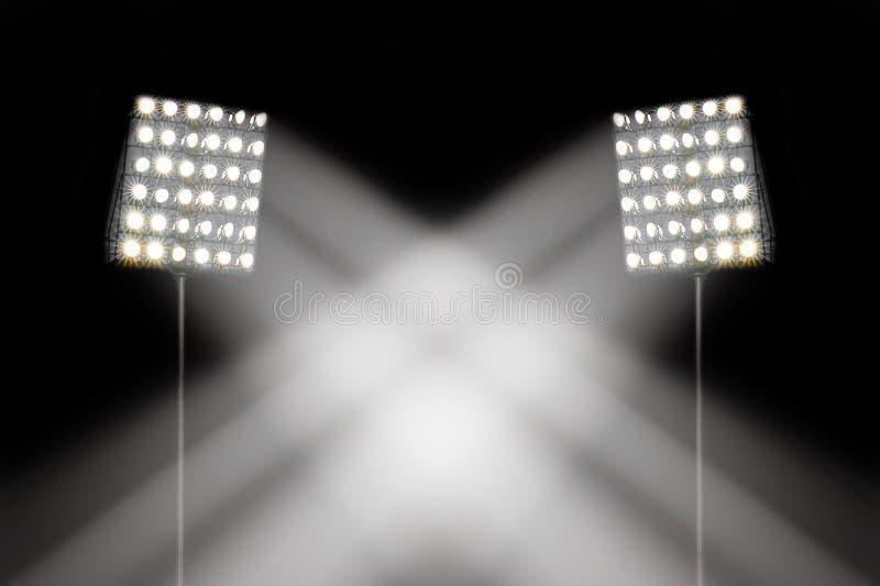 Strålkastare i stadion arkivfoton