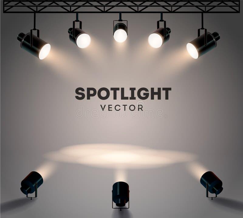 Strålkastare med den ljusa glänsande etappvektorn för vitt ljus ställde in Upplyst effektformprojektor, illustration av arkivbilder