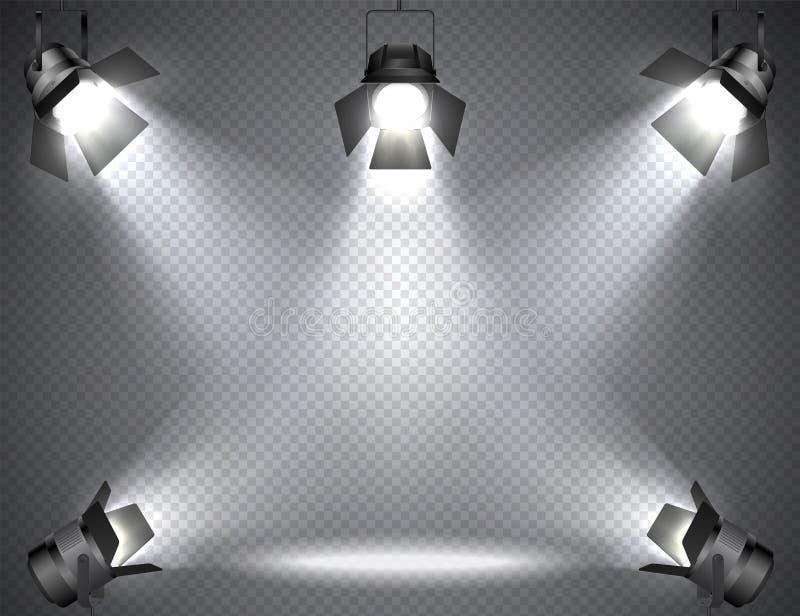 Strålkastare med ljusa ljus på genomskinlig bakgrund royaltyfri illustrationer