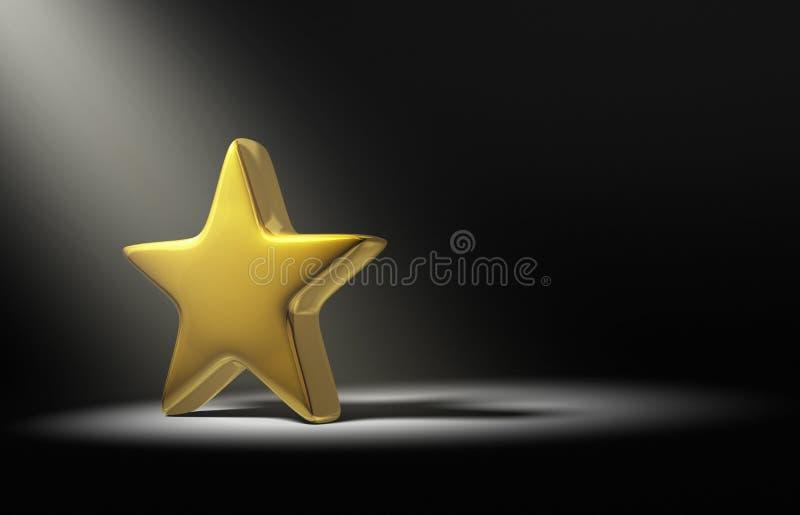 Strålkastare på den guld- stjärnan på mörk bakgrund stock illustrationer