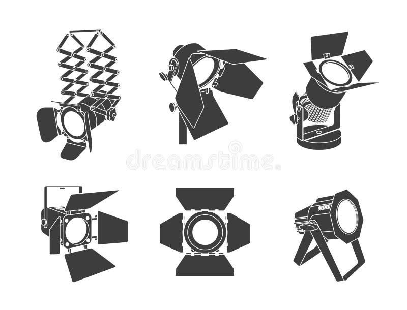 Strålkastare på en genomskinlig bakgrund Ljus belysning med strålkastare Strålkastaren exponerar platsen stock illustrationer