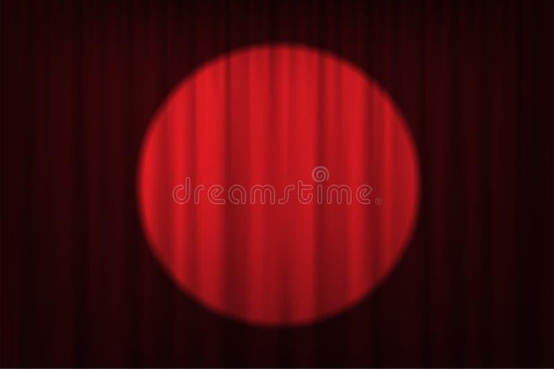 Strålkastare på röda gardiner och stolar Vektorteater, bio eller cirkusbakgrund stock illustrationer