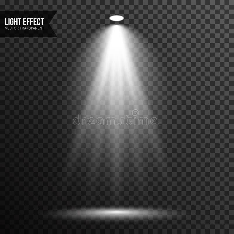Strålkastarebelysning, ljust ljus, etapp, genomskinlig podiumvektor stock illustrationer