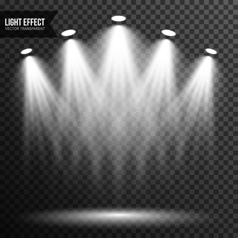 Strålkastarebelysning, ljust ljus, etapp, genomskinlig podiumvektor vektor illustrationer