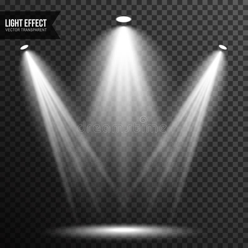 Strålkastarebelysning, ljust ljus, etapp, genomskinlig podiumvektor royaltyfri illustrationer