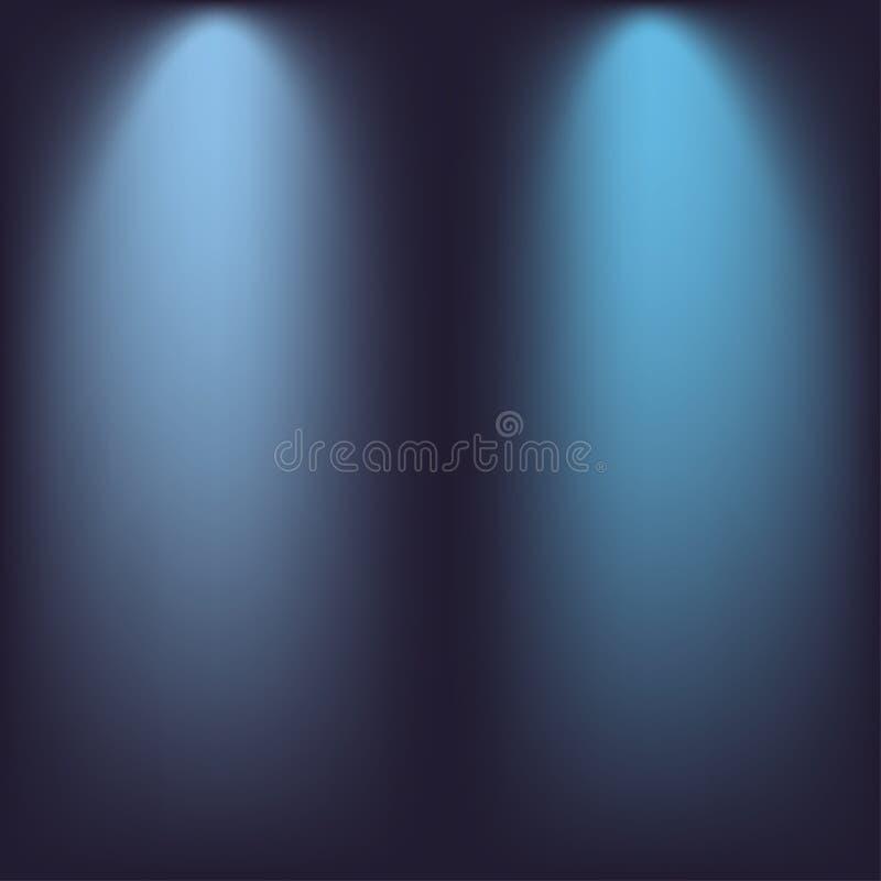 Strålkastareeffekt Blå bakgrund med strålar av ljus vektor vektor illustrationer
