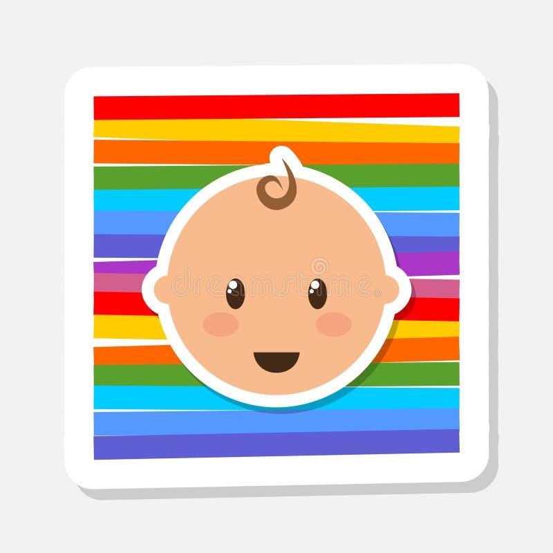 Strålningsikon för spädbarn utan hårdetikett Söt liten pojke royaltyfri illustrationer