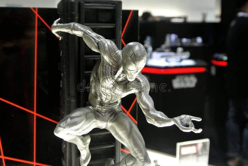 Strålningskänslig av Marvel Comic-action figuren Spider-man tillverkad av pewter-metall royaltyfria foton