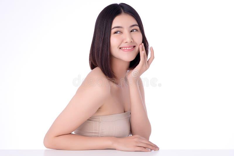 Strålningskänslig ung asiatisk kvinna, ren, färsk och ren hudbild Nackskinkor och hälsotillstånd för asiatiska flickor fotografering för bildbyråer