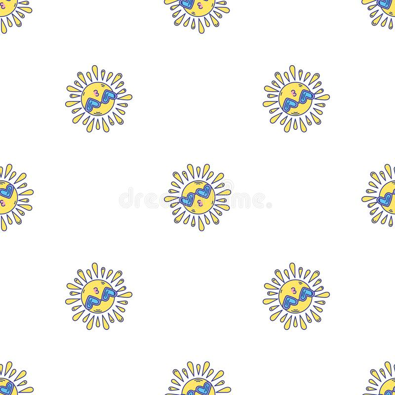 Strålningsklocka, ändlöst, luktfritt, soligt mönster royaltyfri illustrationer