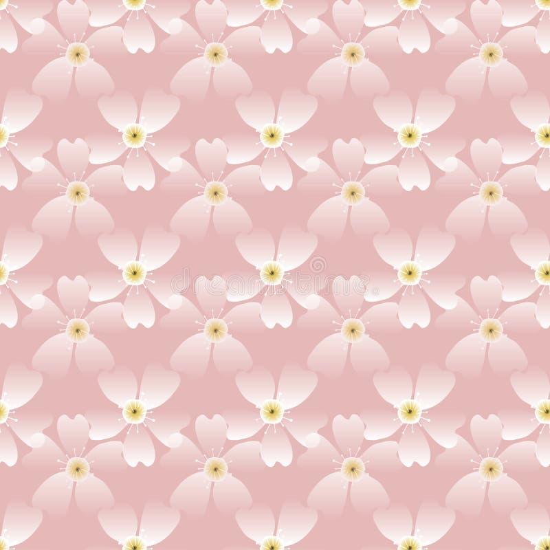 Strålningsmönster för handdragna körsbärsblommor Japansk vårstil, geobotaniskt på rand bakgrund Mjuka rosa neutrala toner Alla stock illustrationer