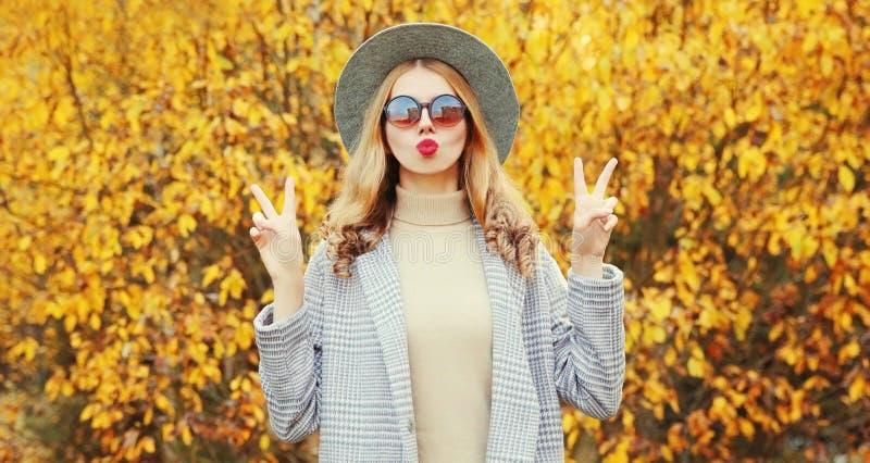 Strålningsmodell för hösten med rock, rund hatt på gula blad royaltyfria foton