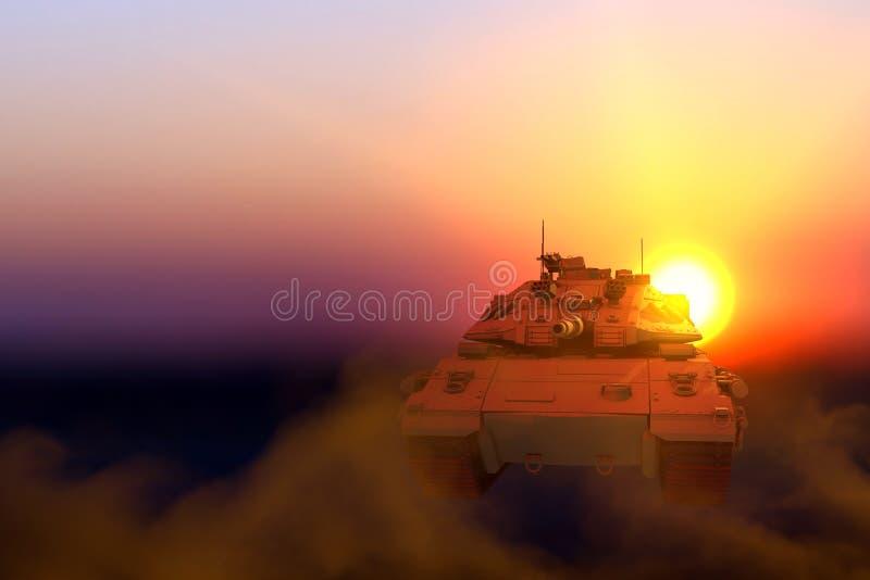 Strålningspolistank med design som inte finns på solnedgång, detaljerat veterandagskoncept - militär 3D-illustration royaltyfria foton