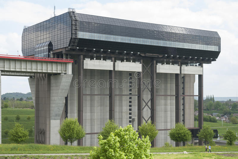 Strépy-Thieu boat lift in the Canal du Centre, Wallonia, Belgium. royalty free stock images