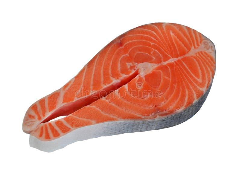 Strój jednoczęściowy surowy pomarańczowy łososiowy stek z skórą odizolowywającą na białym tle, obraz royalty free
