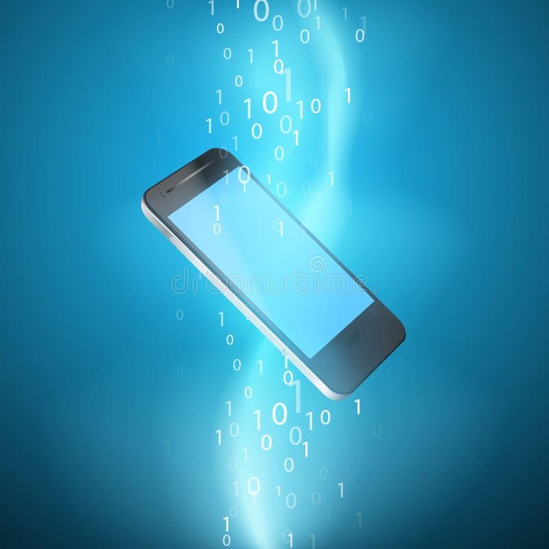 Ström av den binära koden med mobiltelefonen stock illustrationer