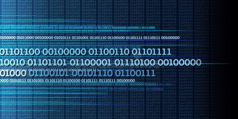 Ström för binära data, binära nummer, stora data, information - dyna royaltyfri illustrationer